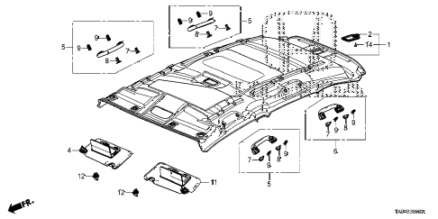 2013 fit STD 5 DOOR 1AT ROOF LINING diagram