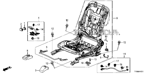2013 fit STD 5 DOOR 1AT FRONT SEAT COMPONENTS (DRIVER SIDE) diagram